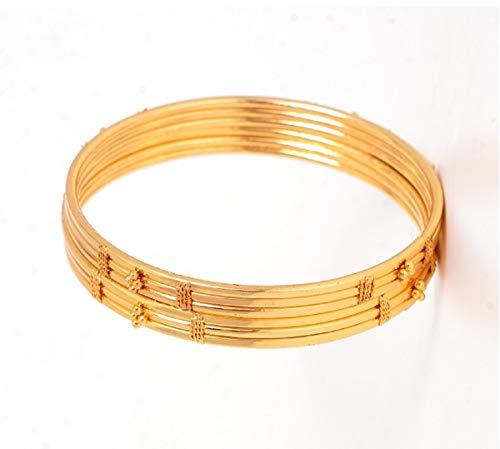 AFJ Gold 1 Gram Gold Plated Traditional Designer Plain Bangles Sets for Women & Girls