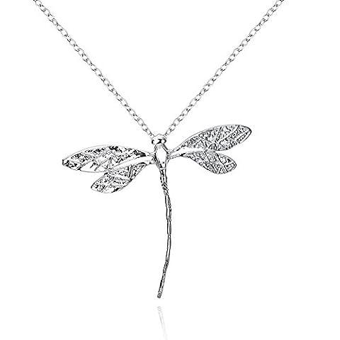 Annn – Collier long argenté avec pendentif en forme de libellule pour femme