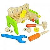 Holz-Werkbank Kinder-Werkbank SLH grün 942 | doppelseitiges Spielvergnügen | Werkzeuge, Schrauben und Muttern | stabil und standsicher | kreative Spielergebnisse | Holzspielzeug Peitz
