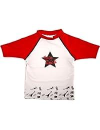 T-Shirt Maillot Anti-UV - Bébé - Baby Rock - Rouge et Gris - Elly La Fripouille