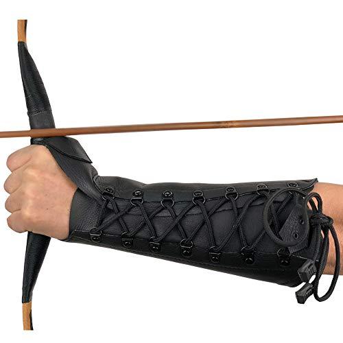 longbowmaker 12.2 Zoll Schwarzer Bogenschießen Armschutz Armschoner aus Leder Bogensport Zubehör -