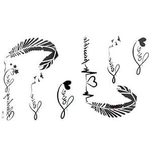 Les nouveaux autocollants de tatouage imperméable à l'eau de libération des femmes lettres noires et blanches de tatouages alphabet des plumes ECG faux avec un MicroDeal® Piece chiffon de nettoyage marques par ordre