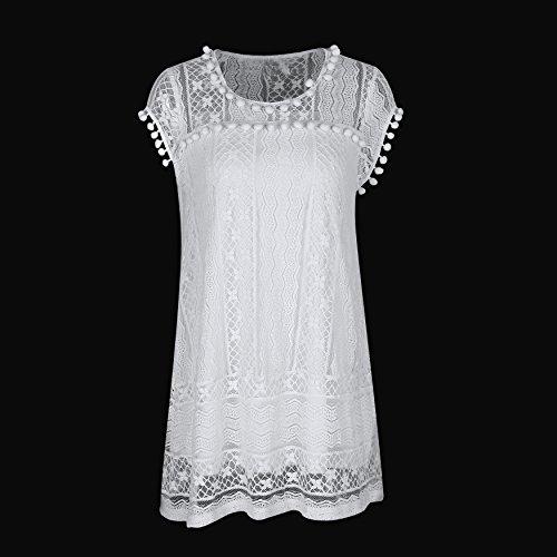 SUNNOW Robe en Dentelle Sexy Blanche Robe sans manches Decontractee Robe de Plage Femme Mini Robe Hauts Loose Robe De Plage Blanc Blanc