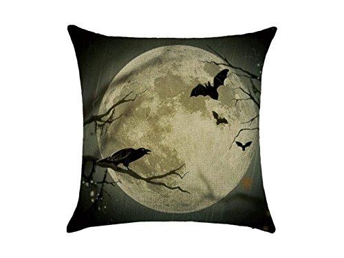 (OVVO Machen Sie schöne Dekoration Kreative Halloween Thema Hexe Schloss Bat Pattern Square Leinen Kissen Fall Taille Wurf Kissenbezug)