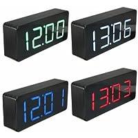 specchio acrilico di legno digitale LED Sveglia tempo del termometro del calendario