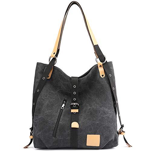 JuguHoovi Damen Handtasche Vintage Canvas Schultertasche Rucksack Freizeittasche Shopper Hobo Tasche Rucksackhandtasche Vielseitige Tasche