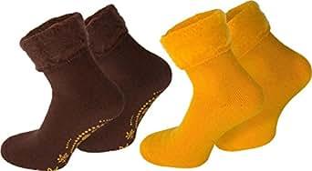 4 Paar Flauschig weiche Kuschelsocken mit Motiv für Damen und Herren Farbe Dream/Braun/Gelb Größe 35-38