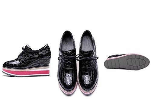 Mandel Black Aufzugsplattform Casual EU 39 Zehe Loafers Beauqueen Schuhe Gr枚脽e Arbeit geformte 34 Leder Vintage qTt5xRw0v6