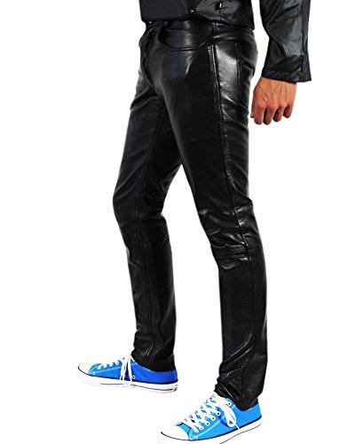 Bockle - Tube Lamb Sexy Agneau Pantalon en cuir noir pour homme casual fermeture bouton Noir