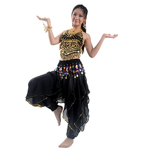 Best Dance Damen Bauchtanz Kostüm-Set Top & Tribal Gold gewellt Harem Hose Rock (Hosen-rock)