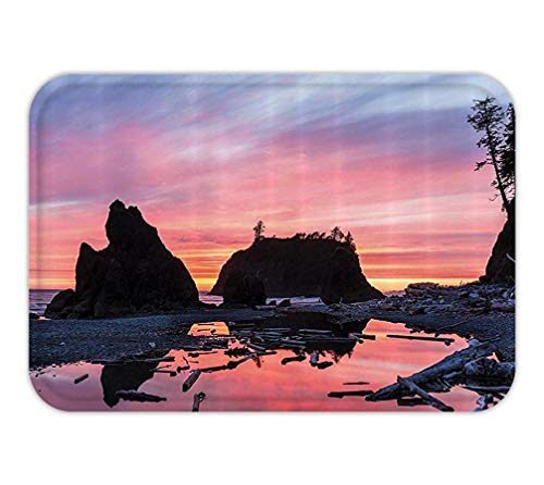 RAINNY Doormat National ParkHome Decor Sunrise in a Slow Moving Stream Pinky Soft Mist Skyline Mystic Beach Fabric Bathroom Decor Set with Hook Extra Long Multi 23.6 W X 15.7 W Inches (Floor Moving Halloween)