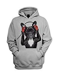 French Bulldog DJ Style Men's Pouch Pocket Hoodie Hooded Sweatshirt from Tribal T-Shirts