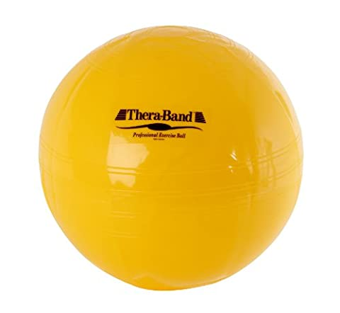 TheraBand Exercise and Stability Ball for Improved Posture, Balance, Core Fitness, Coordination, Rehab, Standard, Yellow, 45cm Diameter