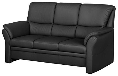 Cavadore 4342 Polstergarnituren Klariza, 3-Sitzer, 2-Sitzer, Sessel, Leder Punch kombiniert mit Kunstleder, schwarz