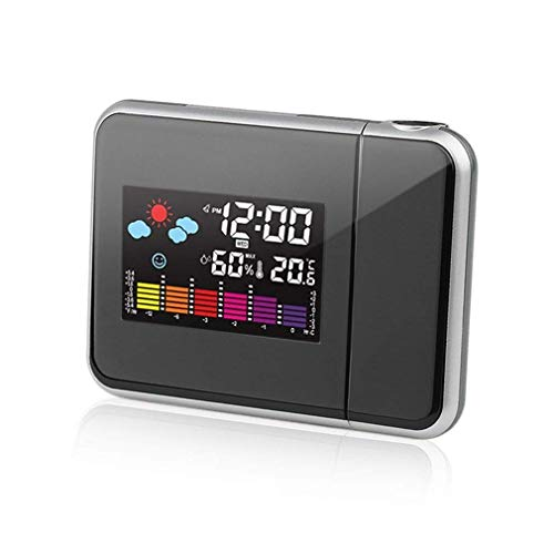 AMZYS-KK Wetter LCD Digital Wecker Heißer Multifunktionsprojektion Hintergrundbeleuchtung LED Farbdisplay Projektor Snooze Alarm Stunden Uhren