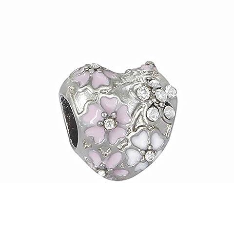 Bling Stars Heart Charm Clear Crystal Pink Enamel Sakura Flower Bead Fits Pandora Charms Bracelet