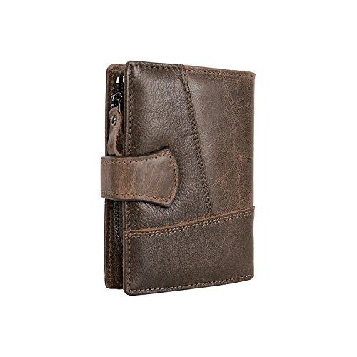 CloSoul Direct Herren Geldbörse aus achtem Leder mit Münzefach mit Reißverschluss hochformat Portemonnaie Geldbeutel khaki Dunkelbraun 1