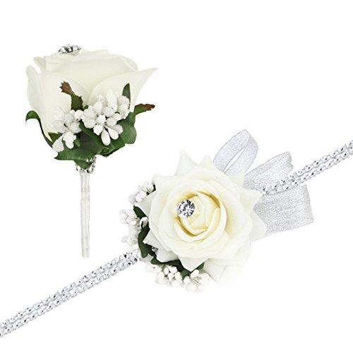Rose Handgelenk Corsage Armband und Blume im Knopfloch Set Strass Band Blumen Hochzeit Prom Elfenbeinküste (Blumen-armband)