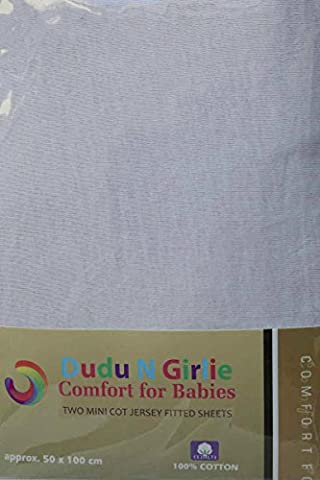 Dudu N Girlie Mini Cot Cotton Jersey Fitted Sheets,100 x 50 cm, White, Pack of 2