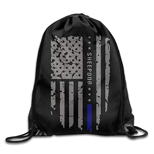 ZHIZIQIU Sheepdog Thin Blue Line American Flag Drawstring Pack Beam Mouth Sports Sackpack Shoulder Bags for Men and Women - American Zebra Line