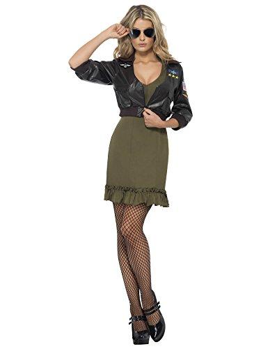 Top Gun Jacke Pilotin Damenkostüm braun khaki -