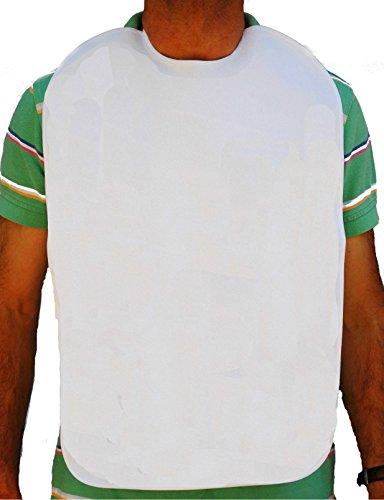 Baberos adulto, rizo 100%algodón plastificado. Blanco