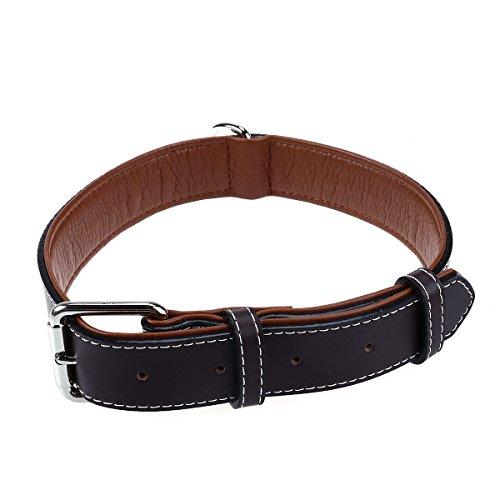UEETEK Mascotas ajustables collarín cuero perro collares