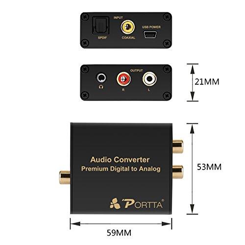 Portta Audio Converter Optical SPDIF Toslink Coax Coaxial zu RCA RL Analog Preimum Konverter Unterstützung 3.5mm Jack 24-bit 192kHz DAC - 4