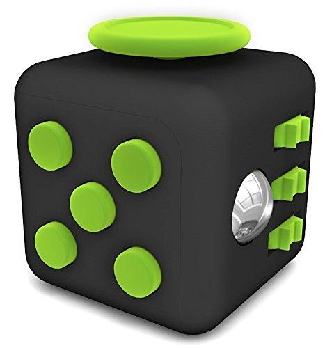 Preisvergleich Produktbild Stresswürfel wie Fidget Cube als perfektes Spielzeug für unterwegs, bei der Arbeit oder im Wartezimmer (Schwarz Grün)
