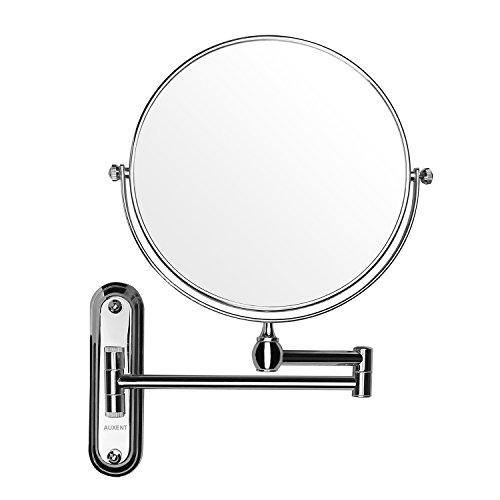 Auxent Espejo de maquillaje de ba?o iluminado con Montaje en pared 10x de aumento, doble cara giratoria de 360 ??¡ã, Espejo de montar en pared, acero inoxidable y acabado cromado para ba?o, hotel, spa y sal¨®n de belleza