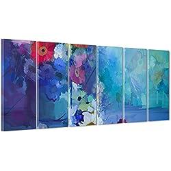 Cuadro de Flores con Margaritas de Colores – Diseño ilustrado – Abstracto Pintado Digital Moderno sobre Lienzo