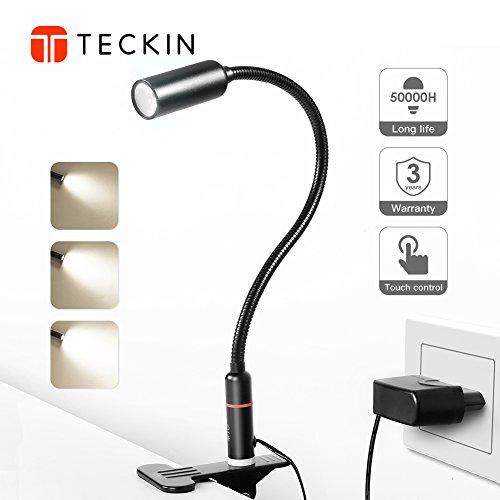 Schreibtischlampe LED Klemmleuchte 4W, Tischlampe Dimmbar Augepflege Bettleuchte mit 3 Helligkeitstufe, TECKIN 360° Flexibel dimmbare Bettleuchte Leselampe für Schlafzimmer Büro (nicht wiederaufladbar)
