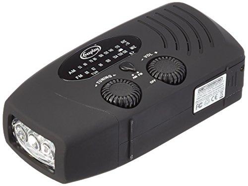 OUTERDO Mini Tragbar Solar Ladegerät Radio Solarradio Mit Helle LED Taschenlampe Dynamo Radio AM / FM / WB Handy Notfall Powerbank Schwarz