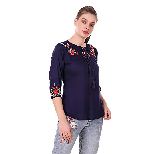 Elyraa Women's Embroidered Western Cotton Top (Blue Colour)