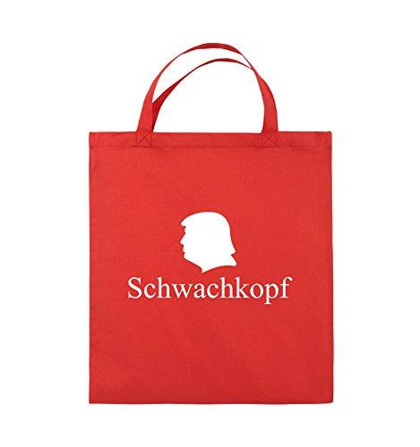 Comedy Bags - Schwachkopf - TRUMP - Jutebeutel - kurze Henkel - 38x42cm - Farbe: Schwarz / Pink Rot / Weiss