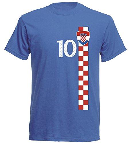Kroatien Kinder T-Shirt Trikot Royal Croatia Kids Hrvatska WM EM Fussball Sport St-1 Fan Supporter (128)