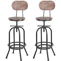 Stabilité et sécurité 2 pcs industrielle chaise de bar avec dossier tabouret  de bar cuisine à 8fb5f4e88a90