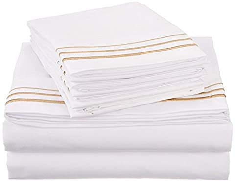 Superior 3000 Series Super Soft and Wrinkle Resistant Microfibre 4-Piece Bed Sheet Set with 3-Line Embroidery in Gift Box, Long Single/Ikea Single, White with Gold