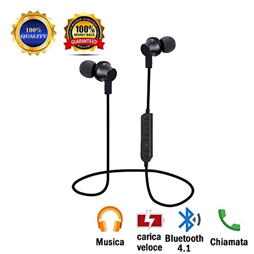 Auricolari bluetooth, cuffie bluetooth senza fili in-ear wireless auricolare bluetooth v4.1 cuffia invisibile per iphone 8/8x/7 samsung galaxy s7 s6 edge+s5, note 4/3 sony huawei p9 p10 p20 smartphone