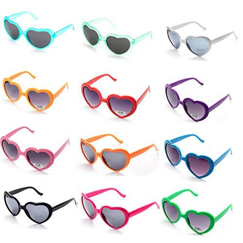 OAONNEA 12 stück Neon Farben Party Sonnenbrillen Set für Kinder Erwachsene Partybrille Herzform Party Favors und Festival (Lustige 80's Paare Kostüme)