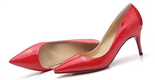 Aisun Femme Mode Kitten-Heel Bout Pointu Printemps Escarpins Rouge