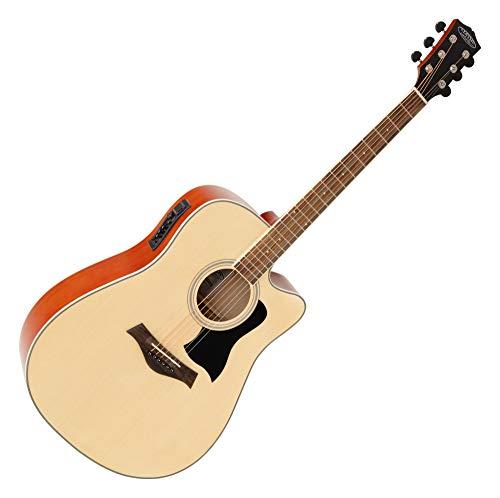Classic Cantabile WS-20 NTEQ Dreadnought Westerngitarre - Akustikgitarre mit Stahlsaiten - Gitarre mit Tonabnehmer und 3-Band Equalizer - Geschlossene und Gummierte Chrom-Mechaniken - Natur - Chrom Natur
