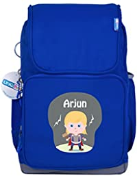 UniQBees Personalised School Bag With Name (Smart Kids Large School Backpack-Blue-Thor)