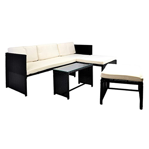 Nexos Rattan Sitzecke mit Tisch Poly Rattan Garnitur Sitzgruppe Gartenmöbel Terrasse schwarz