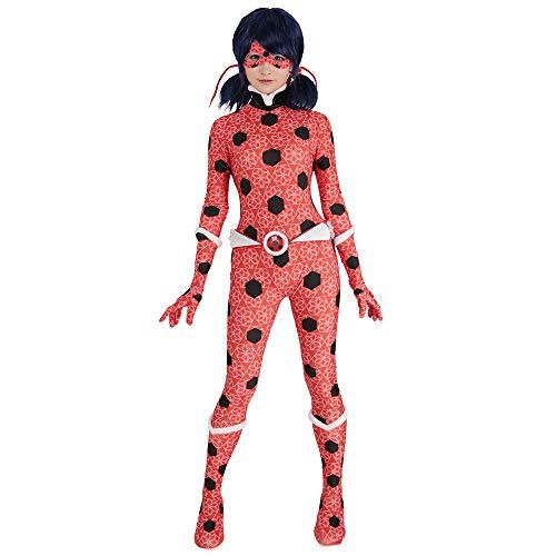 Cosplay.fm Damen Ice Lady Bug Anzug Marinette Dupain Cheng Cosplay Kostüm Bodysuit - Rot - (Teenager Mädchen Kostüm Superhelden)