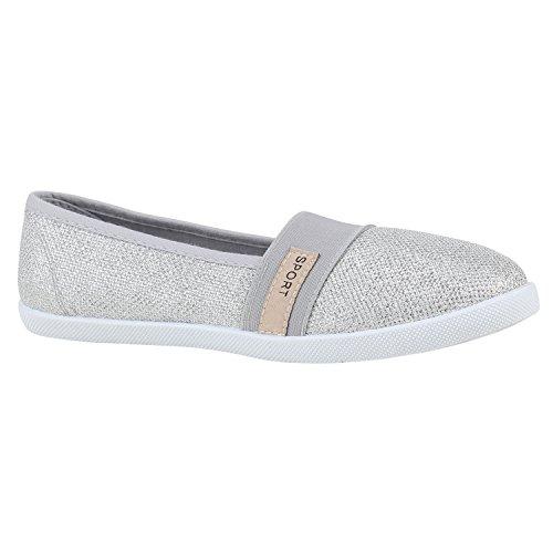 Silber Runde Handtasche (Stiefelparadies Bequeme Damen Schuhe Ballerinas Sportliche Slipper Prints 155938 Silber Autol 38 Flandell)
