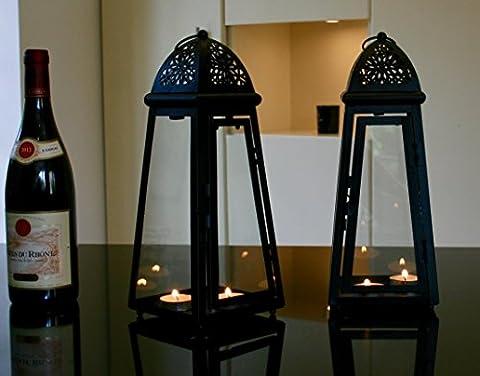 Noir LOT de 2Lanterne en métal et verre hauteur 30cm avec gratuit T lumières
