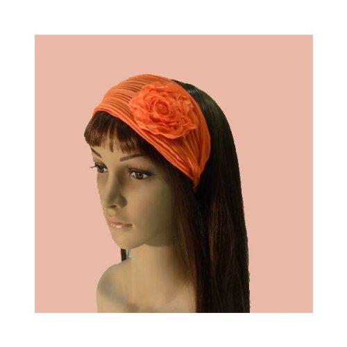 rougecaramel - Serre tête/headband/ large plissé façon bandeau - orange fluo