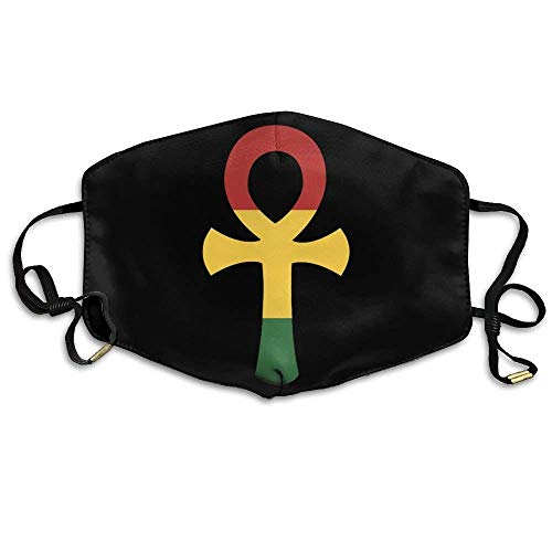 Masken, Masken für Erwachsene, Outdoor Face Masks with Design, Unisex Rasta Ankh Rastafarian Egyptian Washable Anti Pollution Lip Mask Mouth Face Masks Breath Outdoor Mask Outwear White