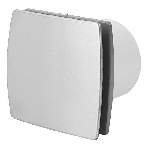 KERABAD Ventilator Lüfter Badlüfter Wandlüfter Bad-Lüfter für WC Bad oder Küche Timer/Nachlauf Modern INOX/Edelstahl Ø 100 mm Durchmesser [T]